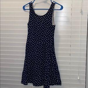 Dark blue polka dot dress